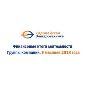 """ПАО """"Европейская Электротехника"""" по итогам 9 месяцев 2018 года увеличило объём выручки и чистой прибыли"""