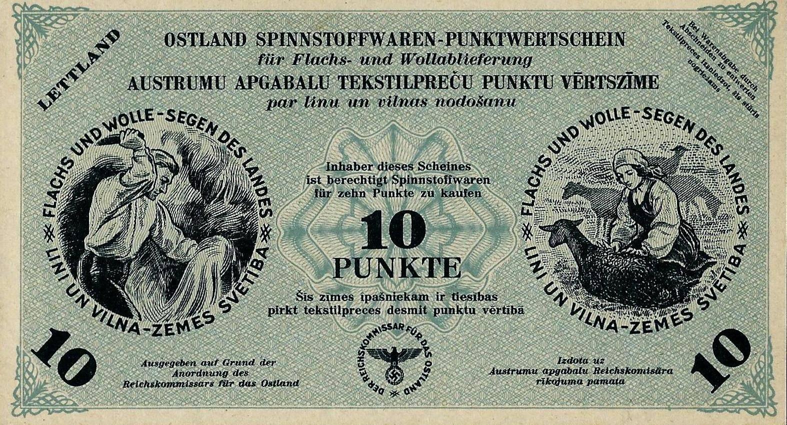 Расчетные квитанции за сданное сырье рейхскомиссариата Остланд