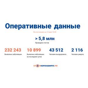 Covid-19: Оперативные данные по состоянию на 12 мая 10:35