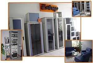 """19"""" шкафы, стойки и другое оборудование в новом демонстрационном зале ГК Веритек"""