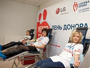 Регулярный День донора на заводе LG Electronics в Московской области прошел с участием Ирины Чащиной