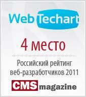 Web.Techart вошёл в TOP-5 «Рейтинга Рунета 2011»