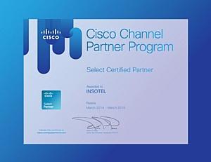 Cisco продлевает партнерский статус Инсотел - Select Certified Partner Cisco