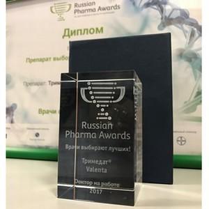Второй год подряд препарат компании «Валента Фарм» получает признание Russian Pharma Awards