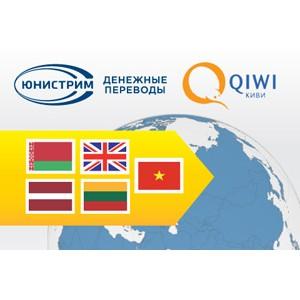 ЮНИСТРИМ и QIWI расширяют географию переводов
