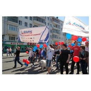 Коллектив Группы компаний «Альянс-Авто» поучаствовал в первомайском шествии
