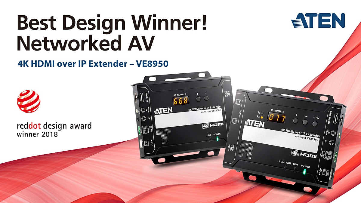 4K Video over IP Extender VE8950 награжден Red Dot Design Award 2018