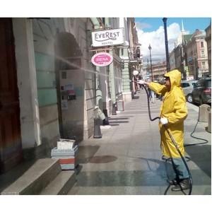 После критики ОНФ коммунальщики начали очищать пыльные фасады зданий в центре Петербурга