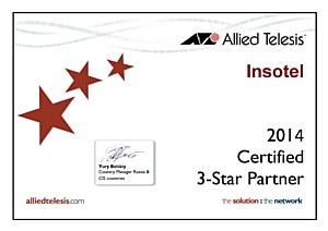 Инсотел получил высший статус:«Insotel  Certified 3-Star Partner Allied Telesis»
