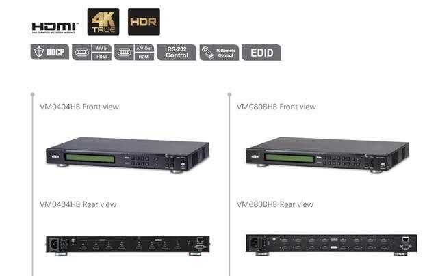 Новинки Aten: 4K HDR, True 4K, HDMI матричные коммутаторы VM0404HB и VM0808HB