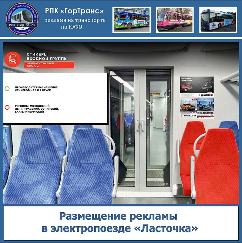 Размещение рекламы в электропоезде «Ласточка»