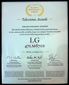 LG CINEMA 3D Smart TV назван на IFA-2012 самым энергоэффективным телевизором
