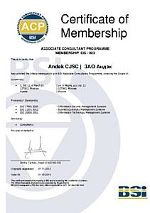 Компания «Андэк» стала членом  программы консультантов BSI