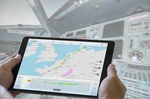 The proFlight app gives a clear visualization of the weather and warnings or hazards along the planned flight route, both horizontally and vertically