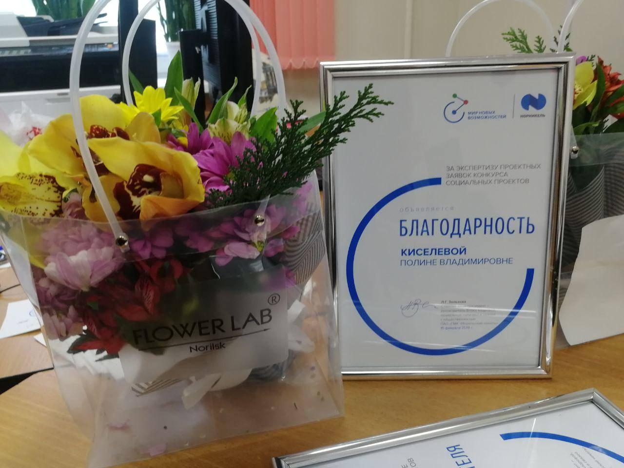 СПП-Заполярье вручен диплом победителя грантовой программы Компании «Норникель»