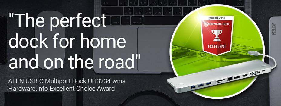USB-C Multiport Dock UH3234 награждена Hardware.Info Excellent Choice Award