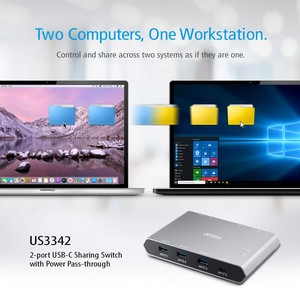 10G USB-C Коммутатор US3342 – 2 компьютера с USB-C периферией как единая рабочая станция