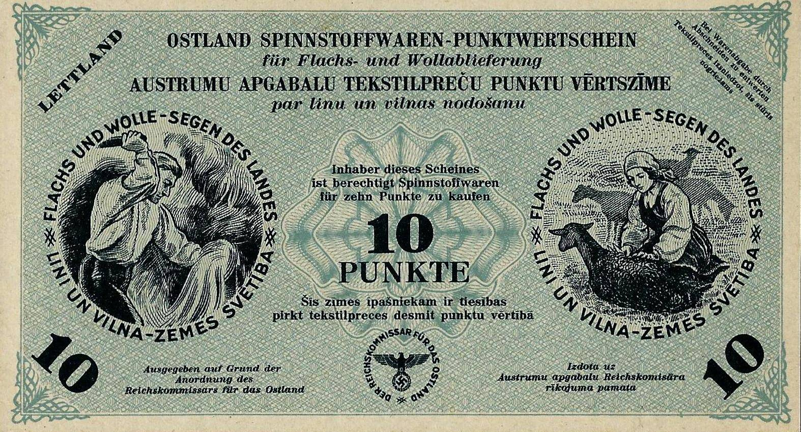 Расчетная квитанция за сданное сырье рейхскомиссариата Остланд, для Латвии, 10 пунктов, 1944 год.