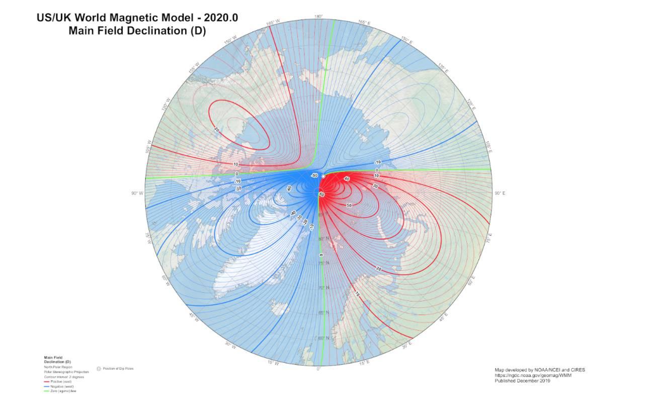 Северный магнитный полюс быстро движется в сторону Сибири