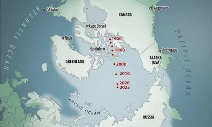 Как северный магнитный полюс перемещался с начала прошлого века / © Baomoi.