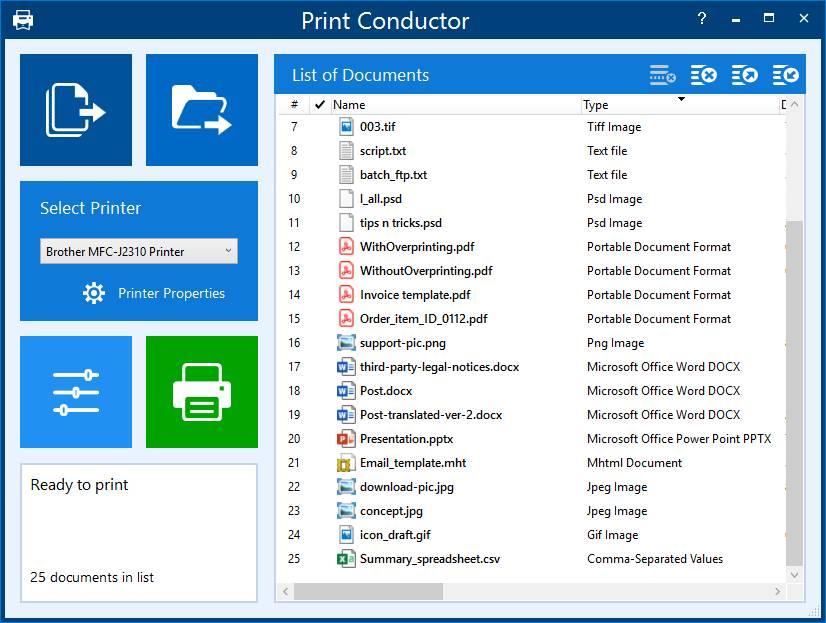 Print Conductor – это профессиональная программа для печати, которая помогает компаниям, организациям и домашним пользователям печатать множество файлов за раз