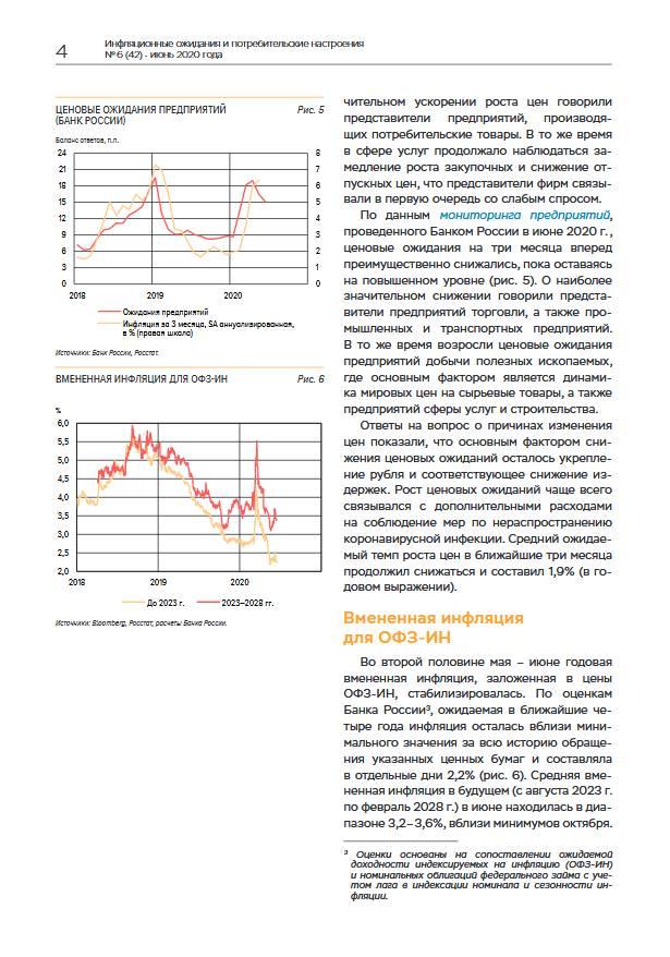 ЦБ: Инфляционные ожидания в июне снижались