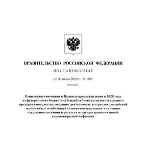 Изменения в Правила предоставления в 2020 году субсидий субъектам МСП