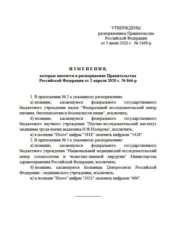Внесены изменения в распоряжение от 02.04.2020 г. № 844-р