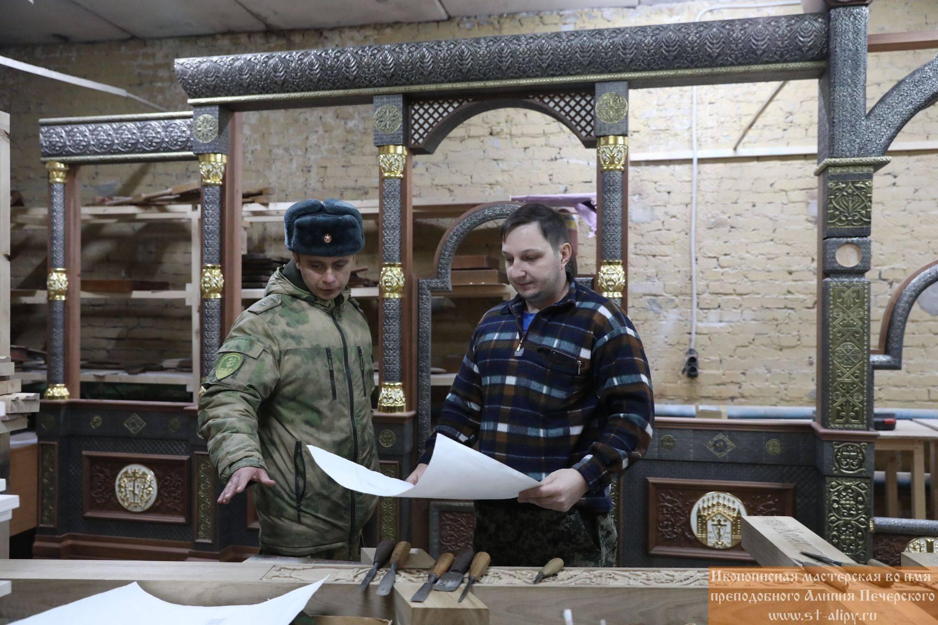 Процесс производства главного храма войск национальной гвардии Российской Федерации