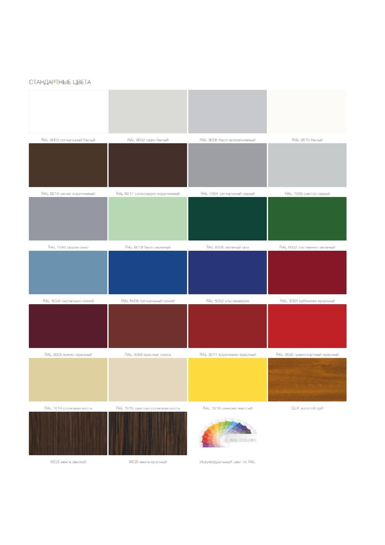 рис.2. Палитра цветовых решений для окраски кровельных сэндвич-панелей (PIR)