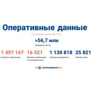 Covid-19: Оперативные данные по состоянию на 24 октября 10:30