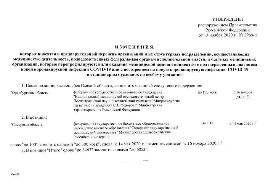 Подписано Распоряжение от 13.11.2020 № 2969-р