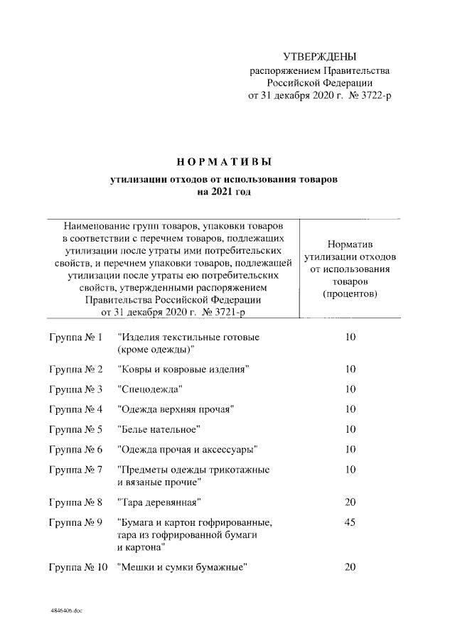 Подписано Распоряжение Правительства РФ от 31.12.2020 № 3722-р
