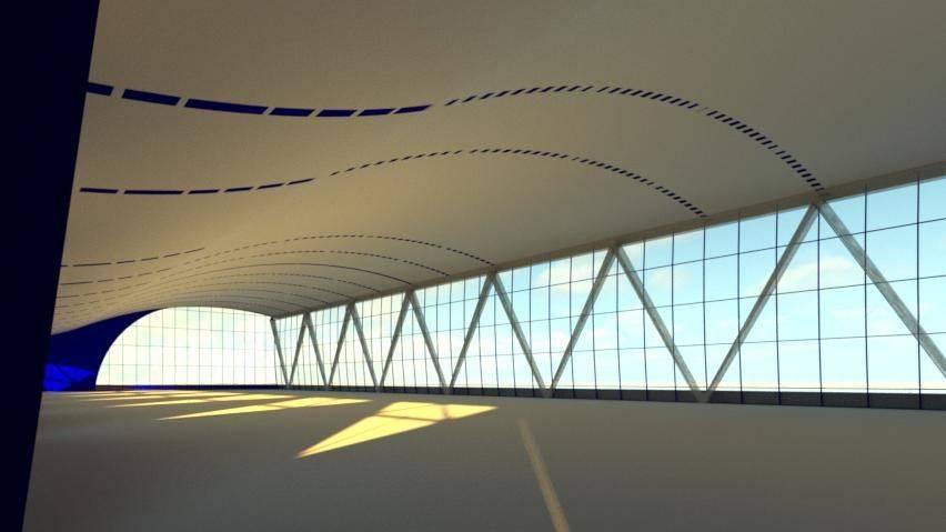 Архитектурный вид интерьера воллейбольно-футбольного зала