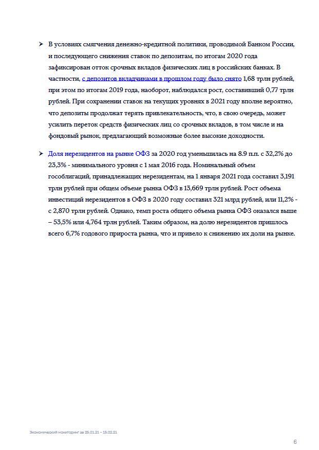 Экономический мониторинг. 25 января – 15 февраля 2021 года
