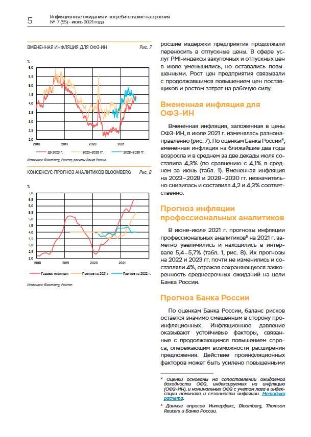В июле инфляционные ожидания повысились