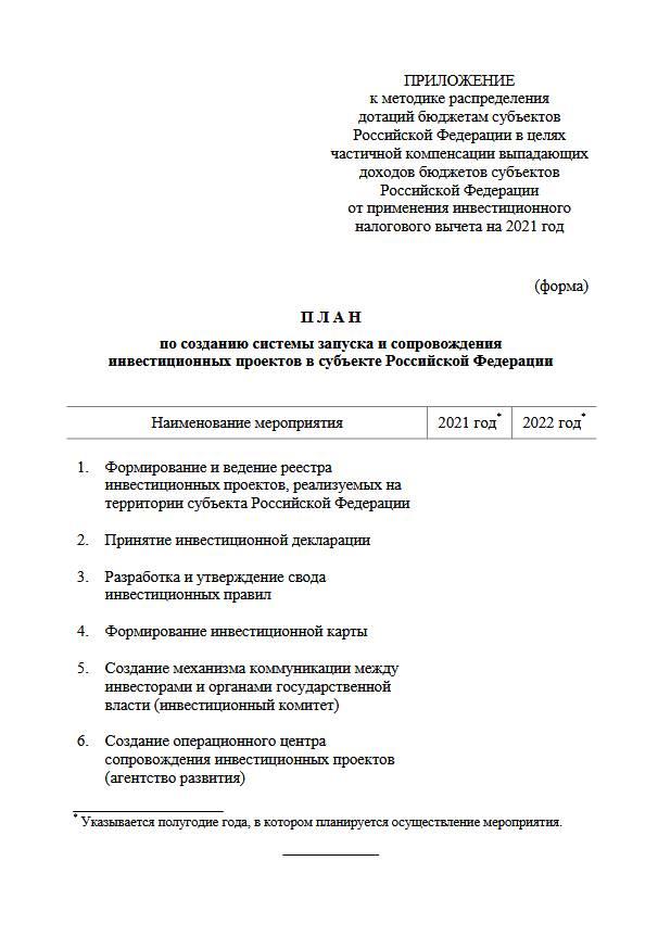 Правила распределения дотаций для регионов на инвестиционный вычет
