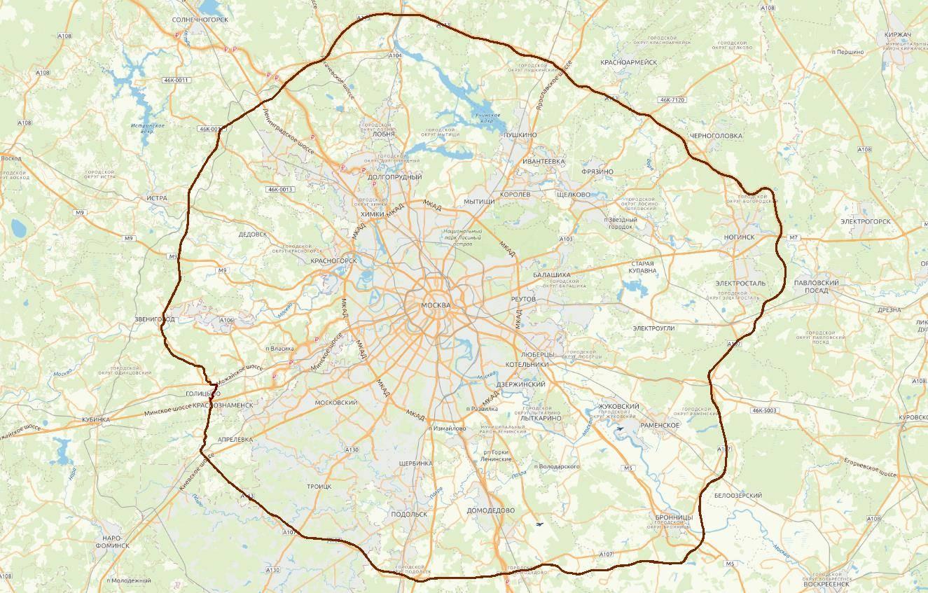 ЦКАД в составе картографической базы данных