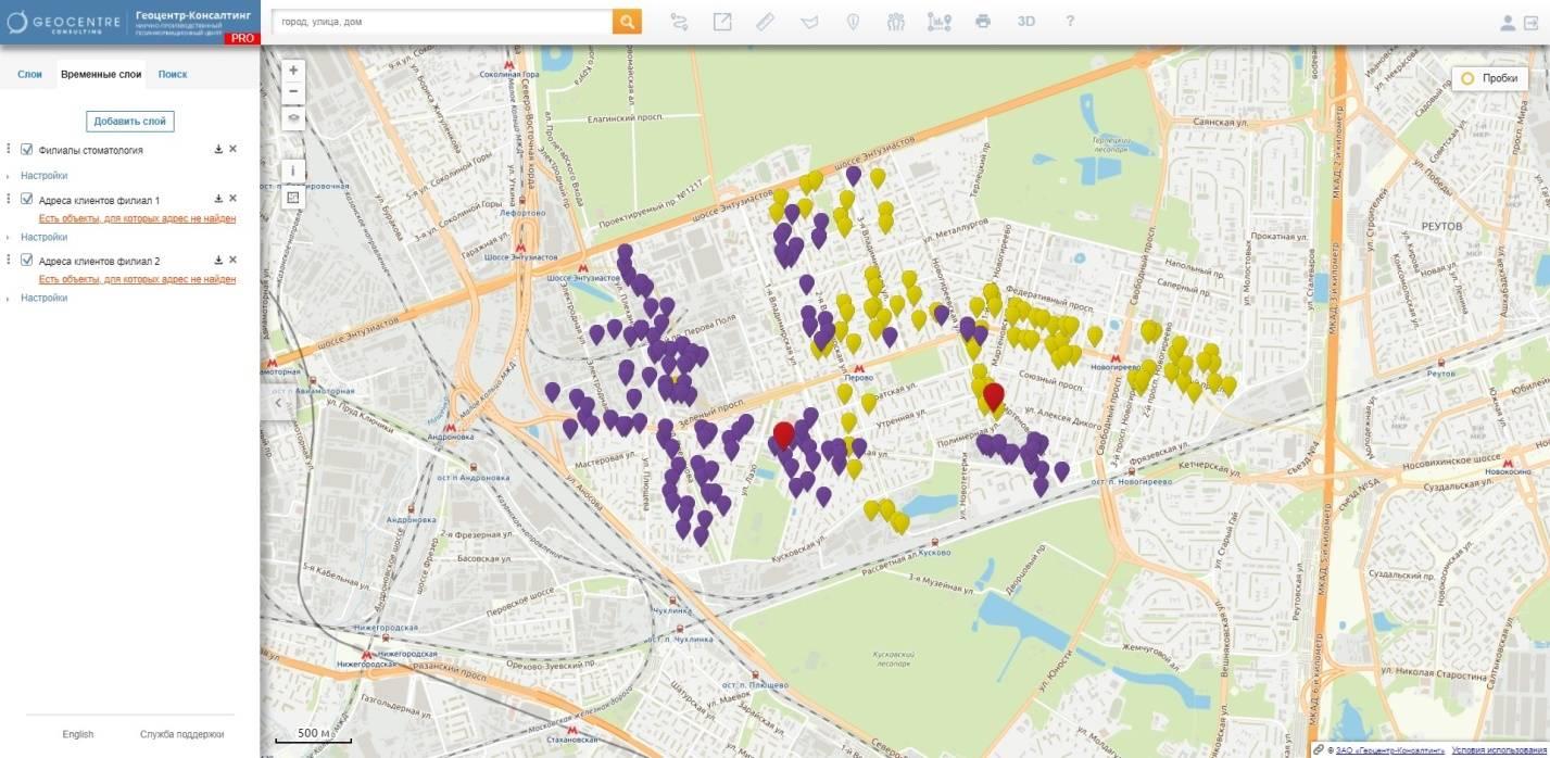 Прогеокодированные данные пользователя на карте