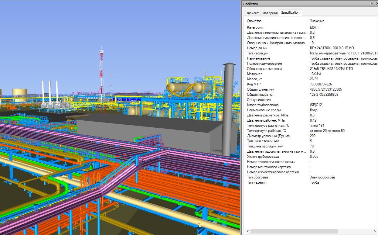 Каждый элемент 3D-модели содержит атрибуты для однозначной идентификации и получения всей необходимой информации