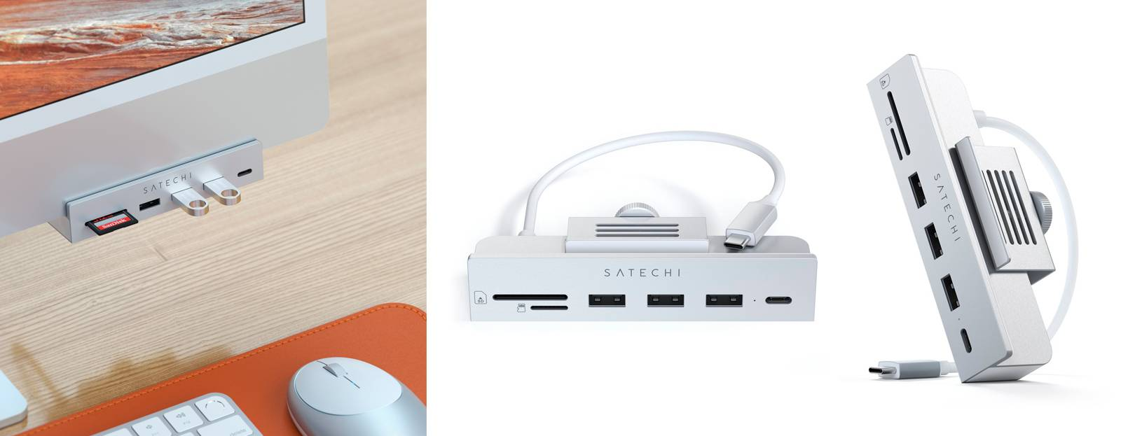 "Хаб Satechi USB-C Clamp Hub с зажимом для iMac 24"""