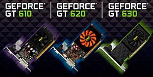 Трио низкопрофильных видеокарт Palit GT 600 для домашних медиацентров.