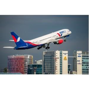 Пунктуальность выполнения международных чартерных рейсов Azur air в сентябре составила 98,2%