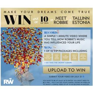 Конкурс в Facebook: выиграй одну из десяти VIP-поездок в Таллинн и встречу с Робби Уильямсом