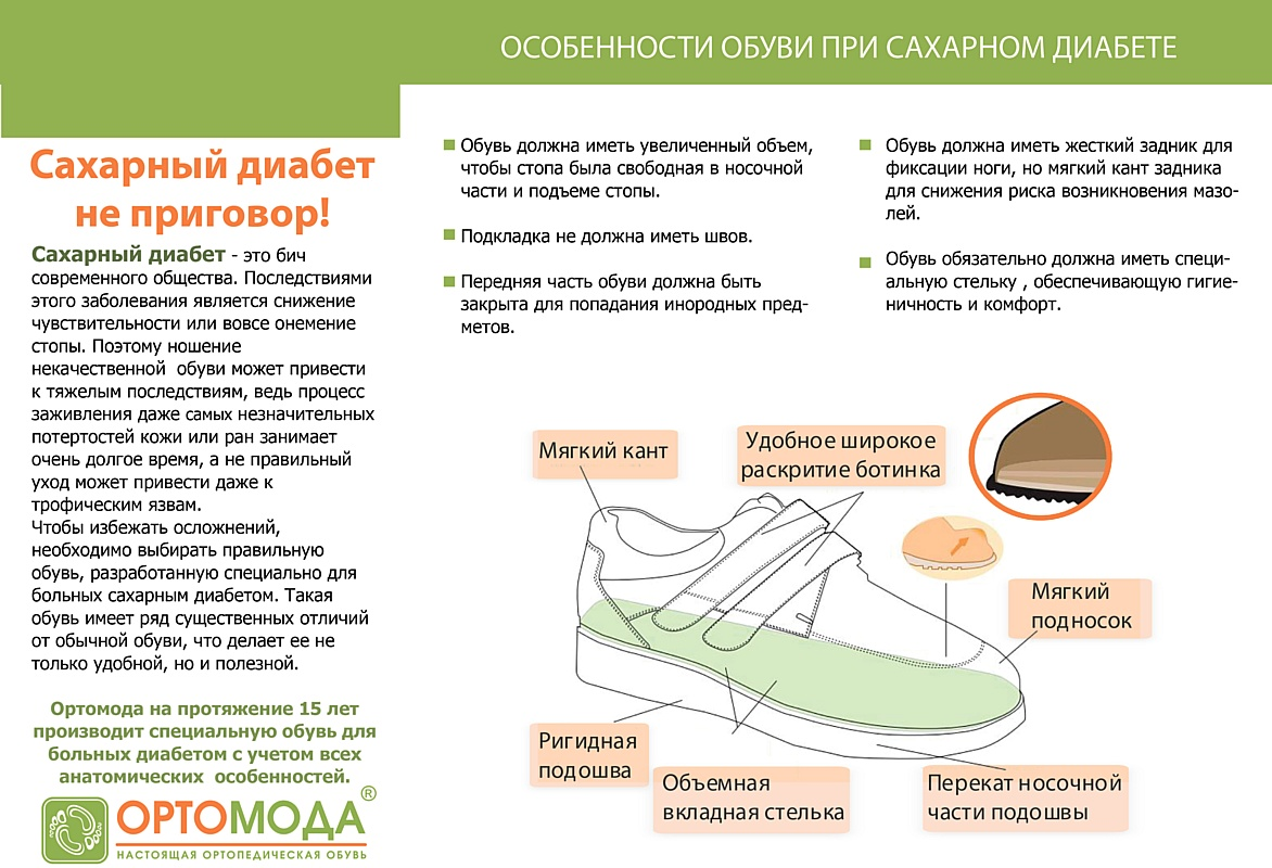 Ортопедическая обувь для диагноза «диабетическая стопа», производства «Ортомода»
