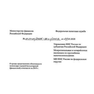 Перенесен срок представления бухгалтерской отчетности за 2019 год