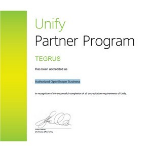 Tegrus получил новую аккредитацию Unify