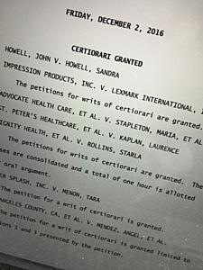 Верховный суд США рассмотрит дело Lexmark против Impression Products