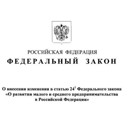 Внесены изменения в статью 24.1 закона о развитии МСП