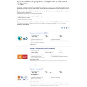 Портал Выберу.ру. Выберу.ру разработал топ-20 лучших ипотечных кредитов на первичном рынке жилья в ноябре